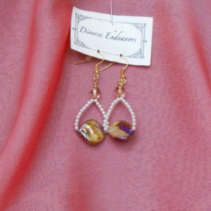 Aurora Borealis Finish on Brown Dyed Irregular Mother of Pearl Earrings