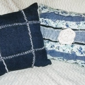 Denim Floral Ruffle Decorative Pillow Set