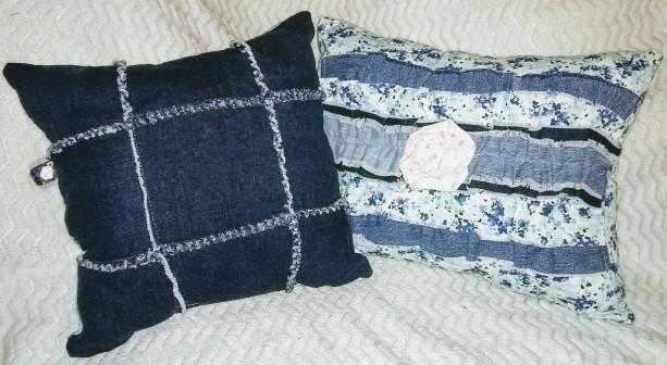 Denim Floral Ruffle Decorative Pillow Set