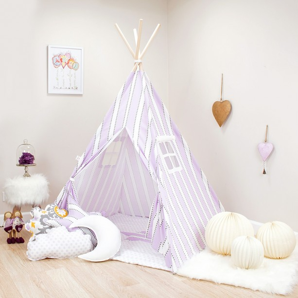 Purple Stripes Kids Teepee Set