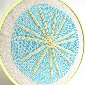 Retro Starburst Hoop Art - Embroidery - Wall Art