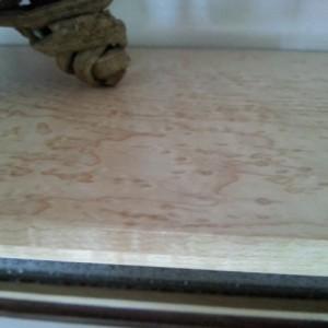 Birdseye crown with walnut inlay and stoneface shelf