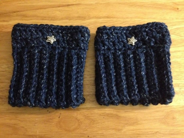 Crochet boot cuffs/Blue Speckled