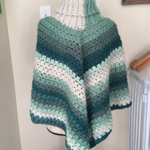 Womens green and cream cowl neck sweater poncho