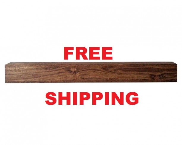 "Fireplace mantel Shelf Floating Solid Wood Pine Beam Fireplace Mantle Mantel sold unfinished with PROMO FREE SHIPPING! (4"" ver)"