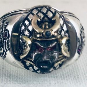 10k Gold Samurai Artisan Made sterling silver Dragon ring