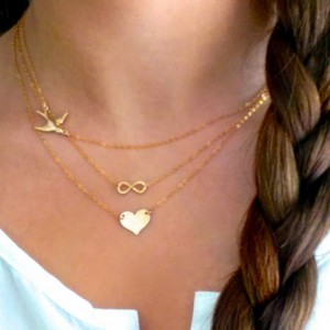 Layer Necklace Set, Gold Layered Necklace Set, Gold Bird Necklace, Gold Infinity Necklace, Set of 3 Layered Necklaces, Tiny Gold Heart
