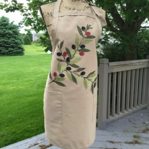 Olive branch apron for women, full apron with pockets, baking gifts, Mediterranean kitchen gifts, peace gift, best selling items