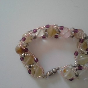 Clear/Rainbow Jasper Semi-Precious Gemstone Bracelet