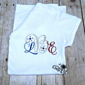 Women's 4th of July Red, White, Blue, Monogram with Optional Metallic Thread ,Ladies T-Shirt, Tank Top, Plus Size, Girls Monogrammed Shirt