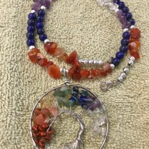 "Symmetry Tree of Life handmade beaded necklace 20"" long"