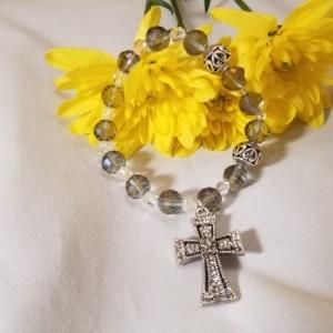 Rosary Bracelet Decade Stretch Band Purple Crystal Color Beads Catholic