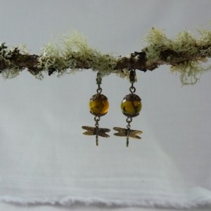 Gold/Green agate & Dragonfly Earrings