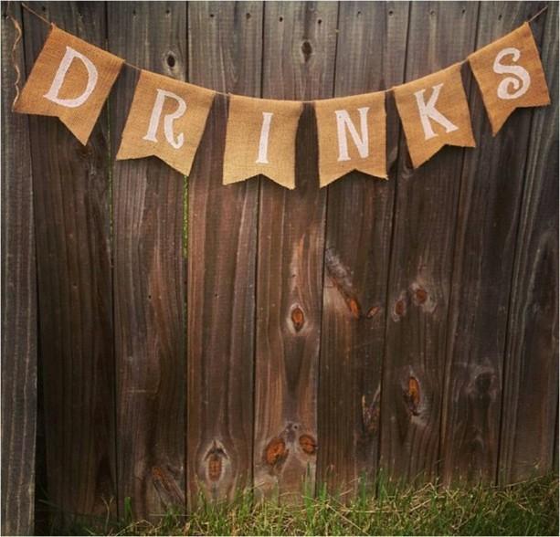 Burlap 'Drinks' Banner