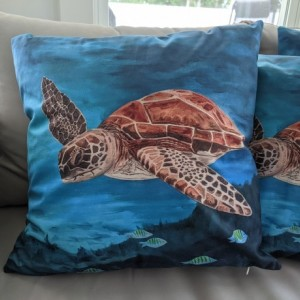 Throw Pillow - Turtle and fishes