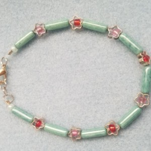 green stone and flower bracelet