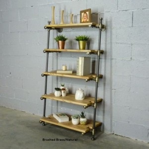 "Industrial Farmhouse Leaning Bookcase - 35"" wide x 60"" tall x 18"" deep, Shelves Included FREE SHIPPING"