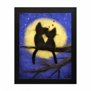 "Wool Painitng ""Romantic cats"""