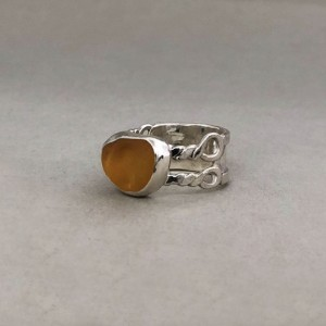Size 7 Amber Sea Glass Ring