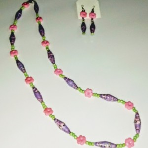 """""""Spring"""" Paper Bead Earring and Necklace Set"""
