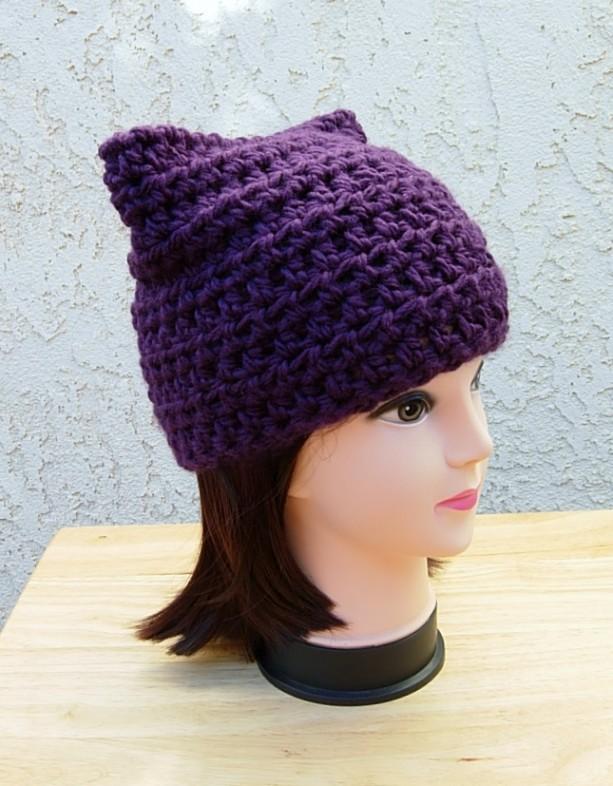 Dark Solid Purple Pussy Cat Hat Soft Crochet Knit Winter Beanie