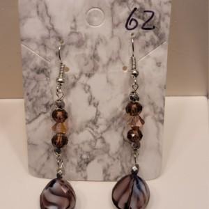 Multi shaped purple bead earrings