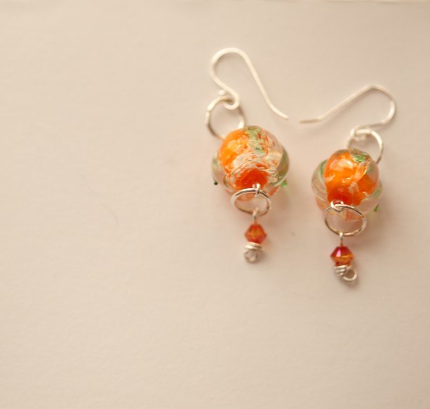 Glow in the Dark Pumpkin Earrings (sterling)