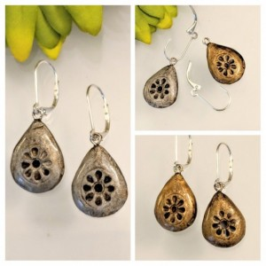 Tibetan Silver REVERSIBLE Dangle Teardrop Rustic Brass 2 looks in 1 pair!