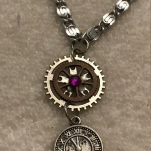 """Steampunk Bling  handmade chain necklace 21"""" long"""