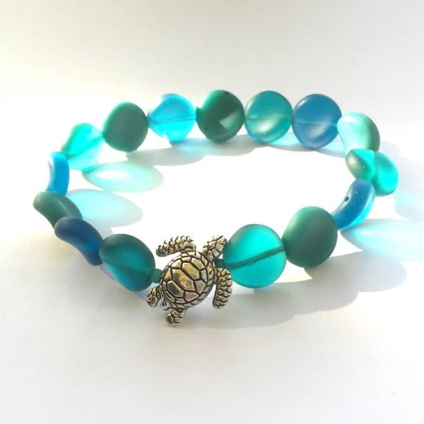 Aqua Glass Turtle Bracelet