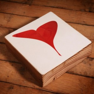 Valentines Heart Reclaimed Wood Block