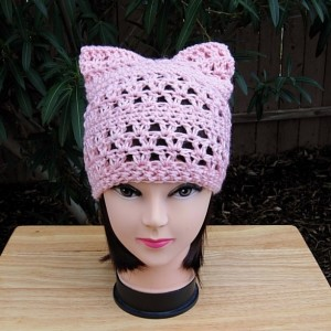 Light Pink Pussy Cat Hat, Summer Lacy PussyHat, Lace Pussy Hat, Lightweight Soft Acrylic Crochet Knit Solid Pink Thin Spring Beanie, Ready to Ship in 2 Days