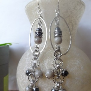 Sexy Black and Grey Cluster Earrings - Dark and Smoky