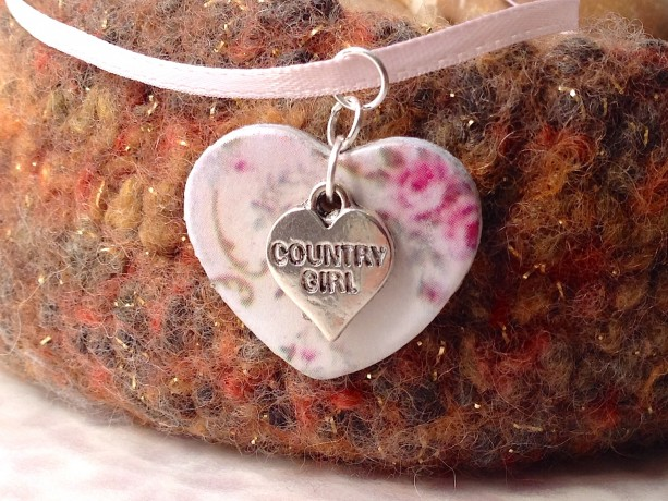 For the Love of the Craft Mixed Media White Country Girl Heart Charm Pendant