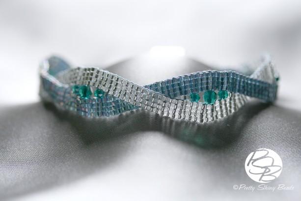 Loom Twist Bracelet with Fire Polished Crystals