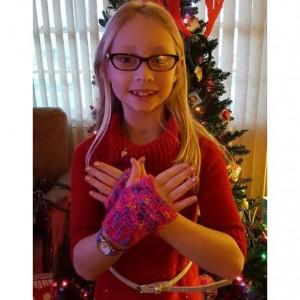 Little Girls Fingerless gloves mitts crocheted kids