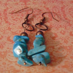 Copper Bead  and Turquoise Chip Beaded Earrings