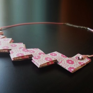 Pink Paper Necklace. Handmade Paper Origami Necklace for her for women jewelry gift. Personalized teen.