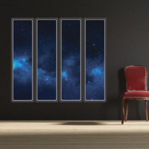 Blue Nebula Space Windows - Set of 4 Wall Decals