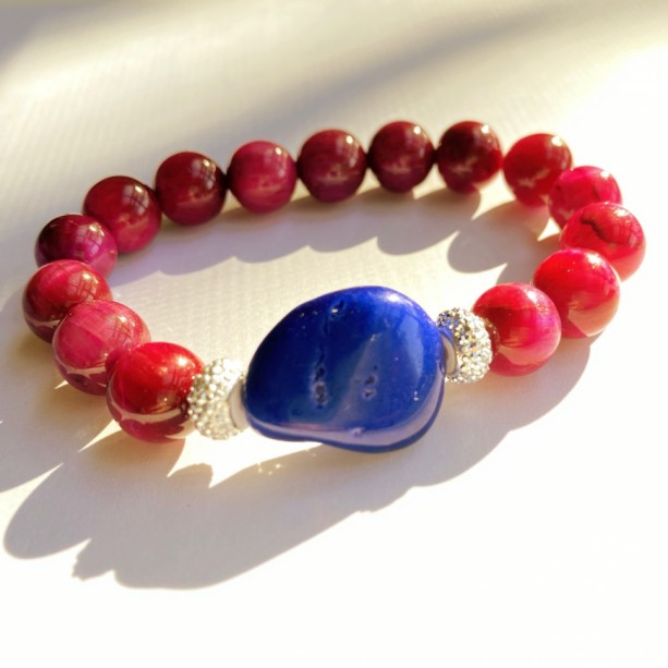 Pink Tigers Eye & Blue Stone Bracelet