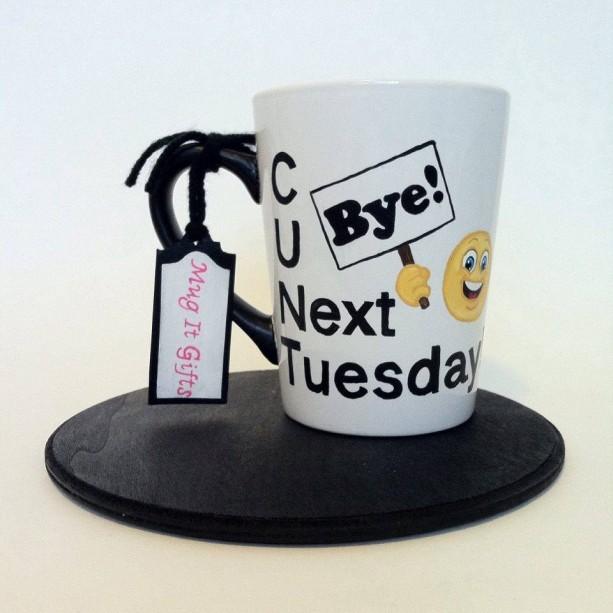 C U Next Tuesday Bye Emoji Adult Humor Funny Coffee Tea Cup Mug