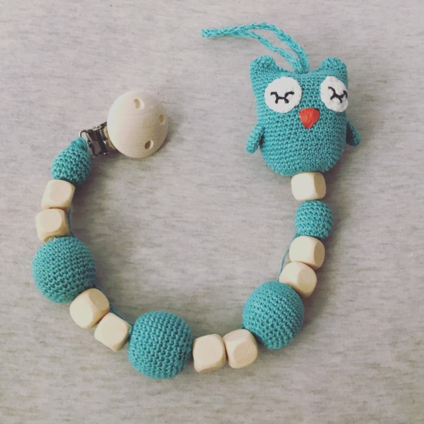 Baby owl wooden  pacifier clip