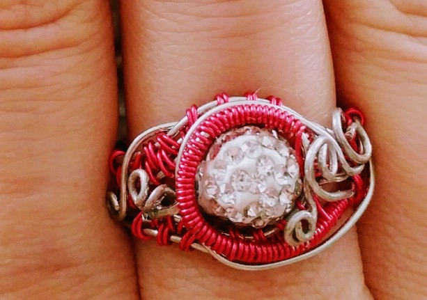 Pink and Silver wire wrapped ring, US size 6
