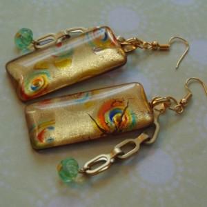 Large Rectangular Green Orange Gold Foil Pieces Rectangular Link Golden Industrial Chain Green Czech Flower Beads Earrings