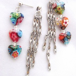 Heart Earrings  Front Back Earrings Millefiori Earrings Silver Chain Millefiori Glass Hearts