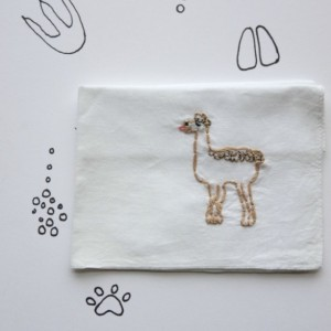 Hand Embroidered Llama Handkerchief Llama Embroidery Funny Hanky Whimsical Art by wrenbirdarts