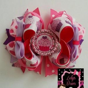 Cupcake Stacked Boutique Hair Bow, Cupcake hair bow, Cupcake  bow, hair bow, cupcake clip