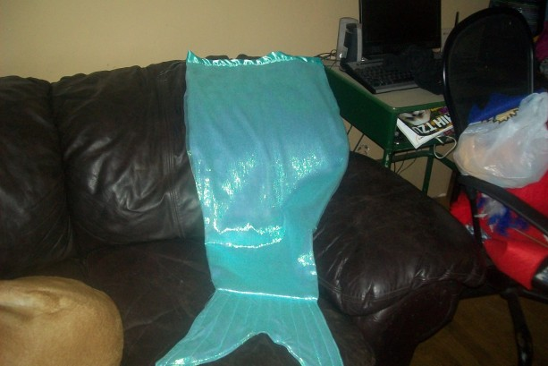 Child's Mermaid tail cocoon blanket.