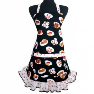 Retro Kitchen Apron for Women , Cherry Desserts on Black with matching ruffle , Pin up girl
