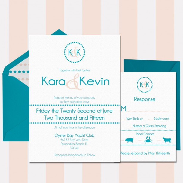 Turquoise And Peach Beach Wedding Invitation Printed Custom Inv